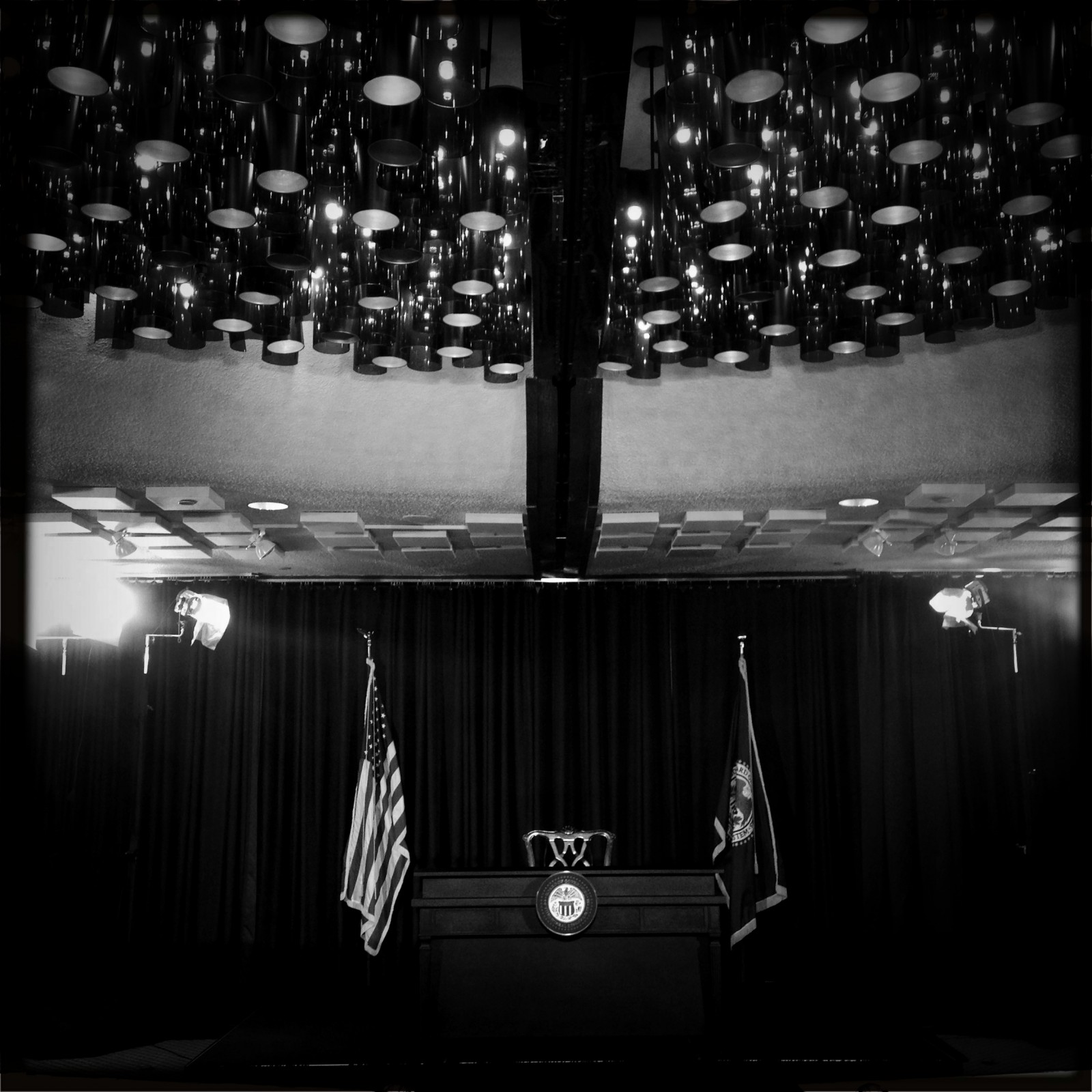 The stage is set for Federal Reserve Chairman Ben Bernanke to appear at a news conference following the Federal Open Market Committee meeting in Washington, D.C. on Wednesday, Sept. 18, 2013.