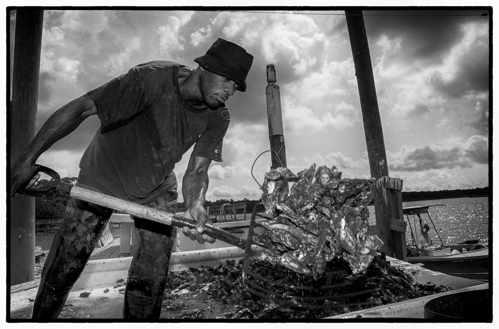 A Gullah oysterman unloads his catch from the May River near Hilton Head.