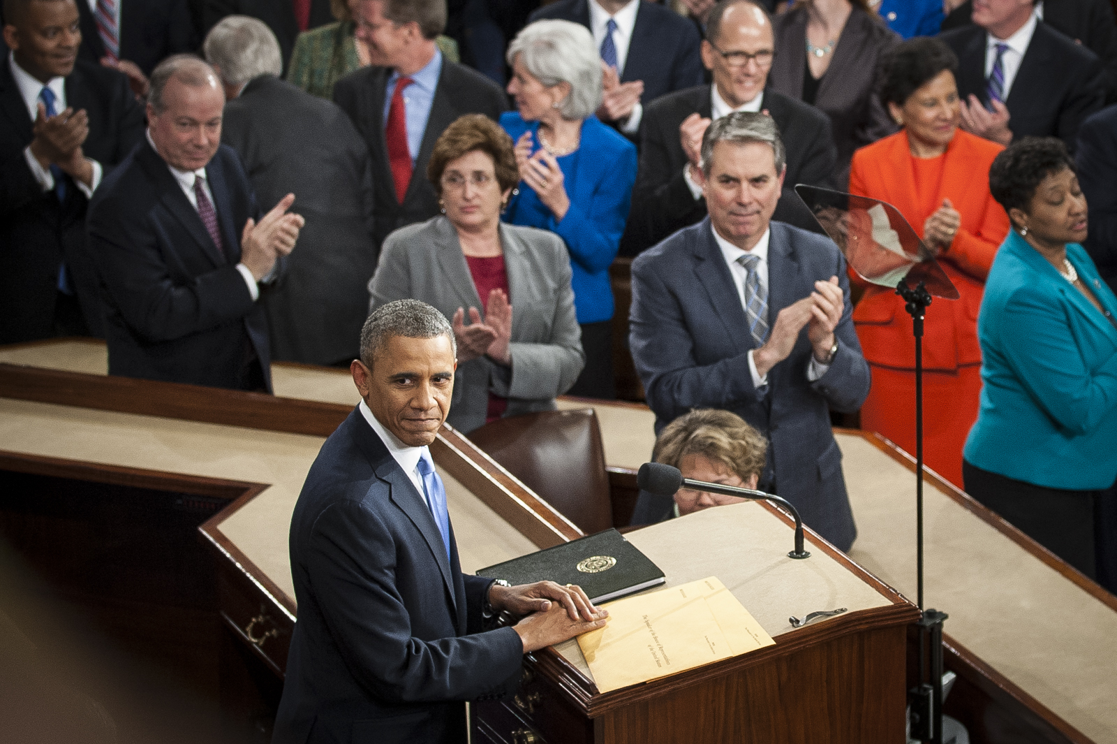 U.S. President Barack Obama prepares to deliver the State of the Union address to a joint session of Congress at the Capitol in Washington, D.C., U.S., on Tuesday, Jan. 28, 2014. Photographer: Pete Marovich/Bloomberg