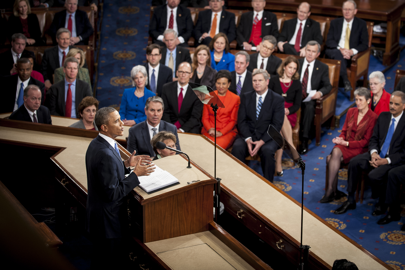 U.S. President Barack Obama delivers the State of the Union address to a joint session of Congress at the Capitol in Washington, D.C., U.S., on Tuesday, Jan. 28, 2014. Photographer: Pete Marovich/Bloomberg