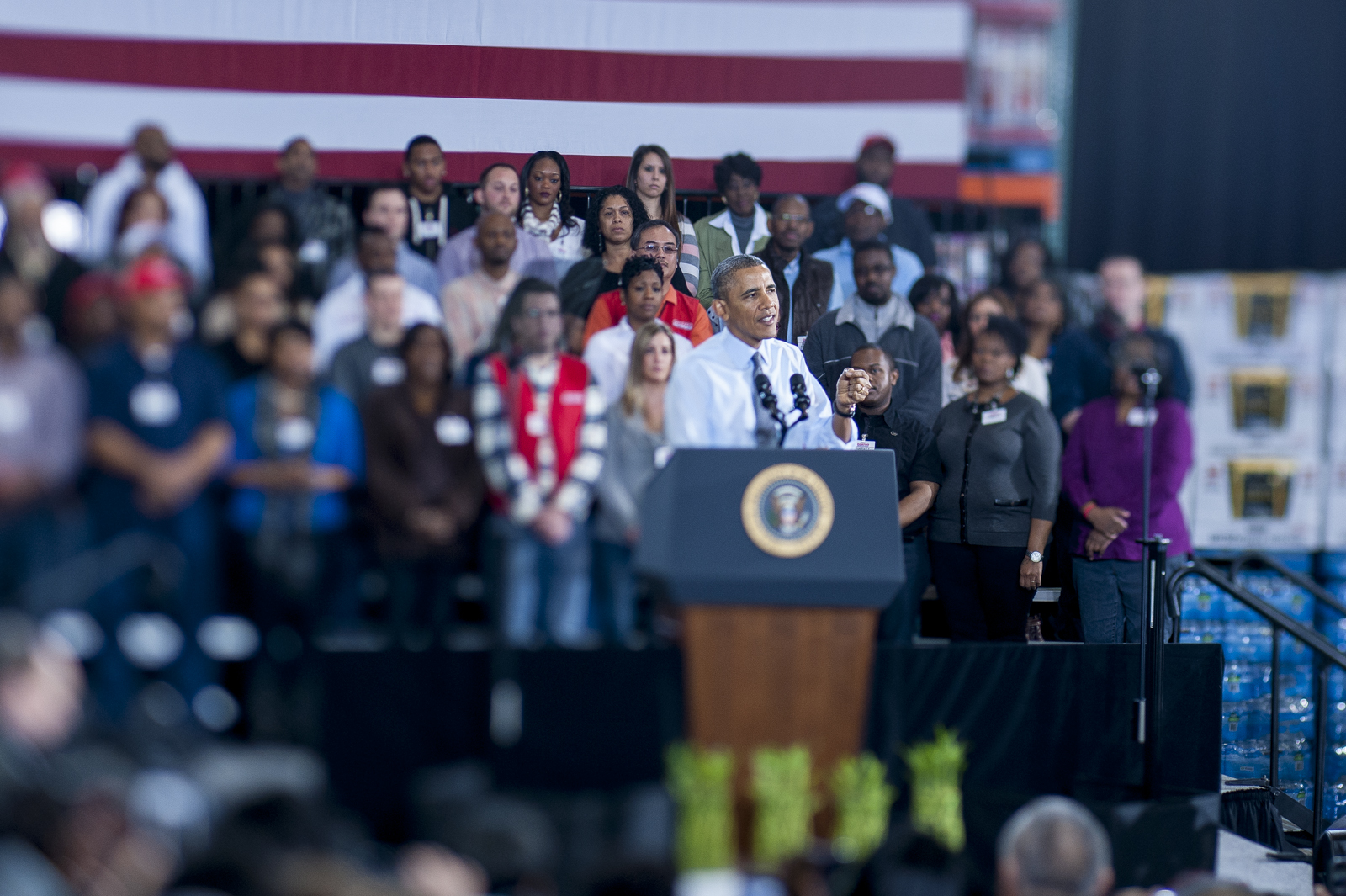 President Barack Obama delivers remarks after touring a Costco in Lanham, Maryland.  Obama highlighted the importance of raising the federal minimum wage for all Americans and reiterate his commitment to working with Congress to pass the Harkin-Miller bill.