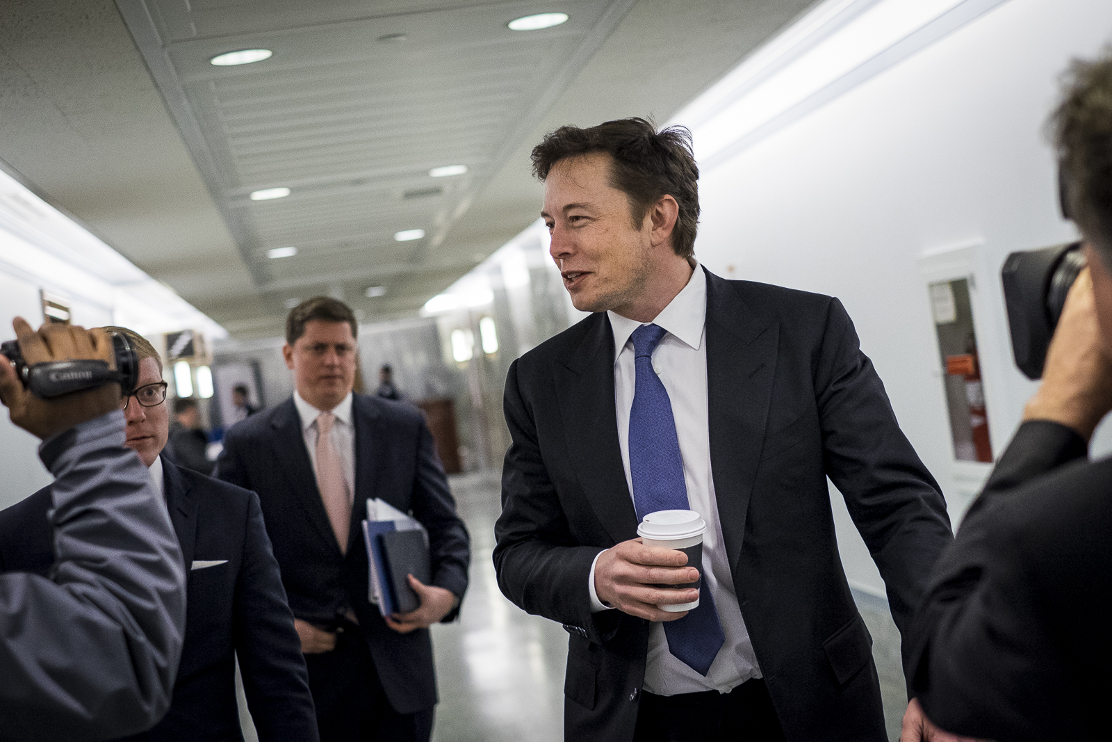Elon Musk, CEO and chief designer of Space Exploration Technologies (SpaceX), arrives to testify at a Senate Appropriations Defense subcommittee hearing on Capitol Hill in Washington, D.C., U.S., on Wednesday, March 5, 2014. The hearing dealt with the National Security Space Launch Programs. Photo:Pete Marovich/Bloomberg