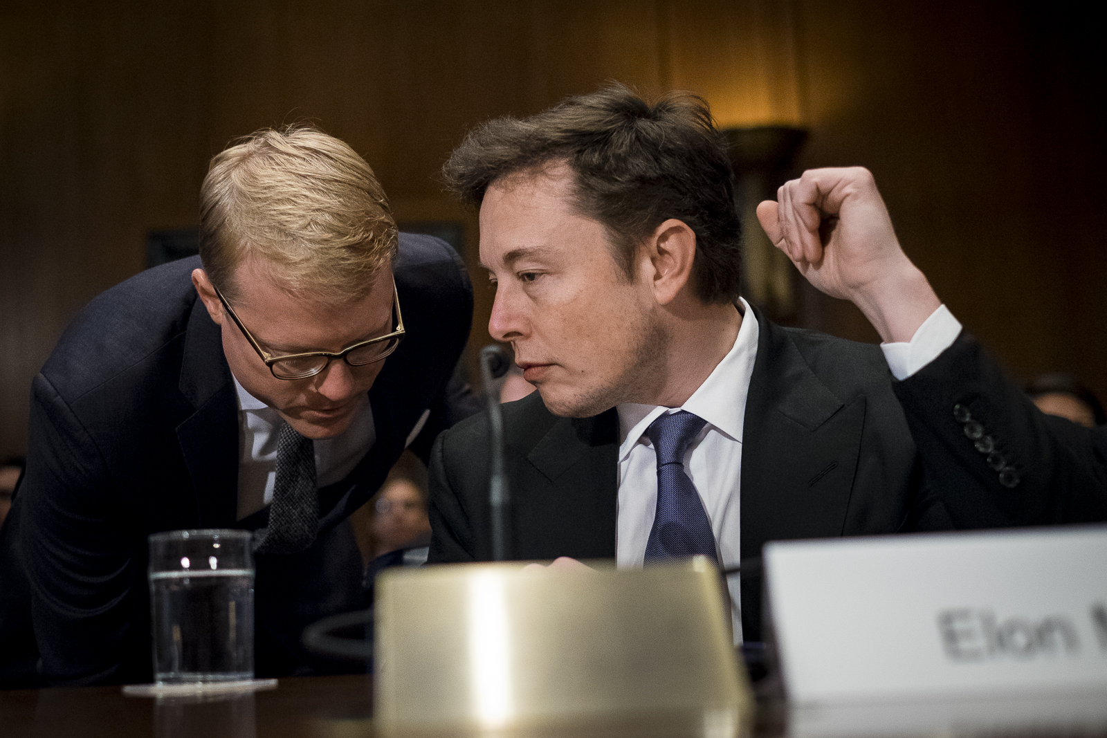 Elon Musk, CEO and chief designer of Space Exploration Technologies (SpaceX), prepares to testify at a Senate Appropriations Defense subcommittee hearing on Capitol Hill in Washington, D.C., U.S., on Wednesday, March 5, 2014. The hearing dealt with the National Security Space Launch Programs. Photo:Pete Marovich/Bloomberg