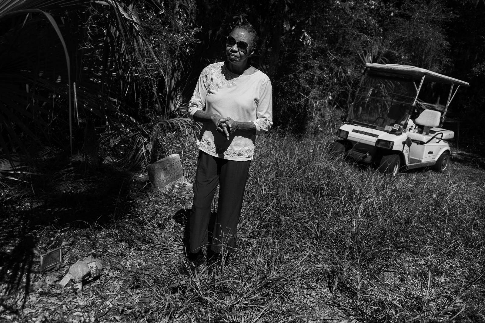 Yvonne Wilson at her son's gravesite.