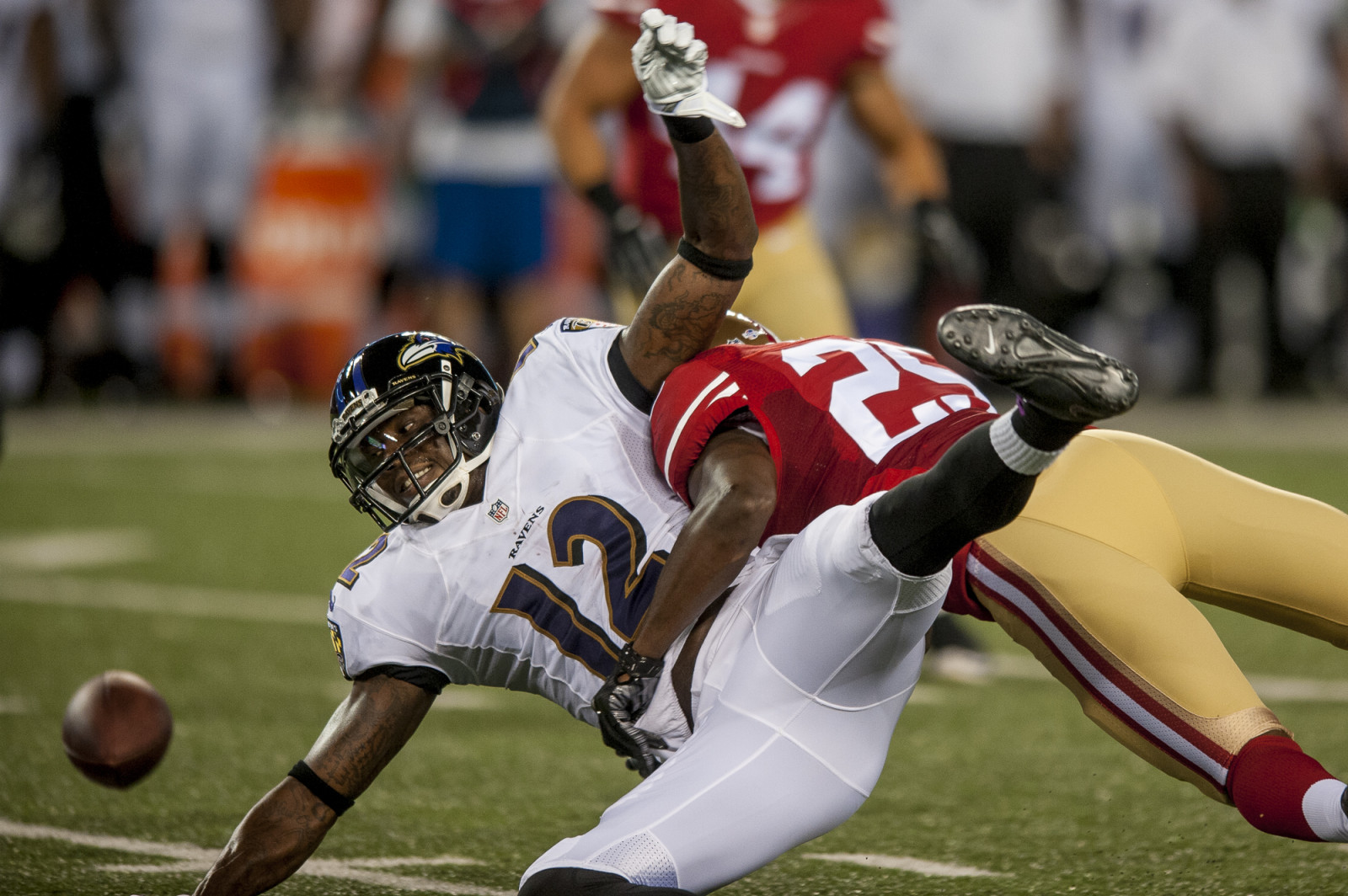 Baltimore Ravens wide-receiver Jacoby Jones  mishandles a pass against the San Francisco 49ers during the first quarter of their pre-season game at M&T Bank Stadium on August 7, 2014 in Baltimore, Maryland. UPI/Pete Marovich