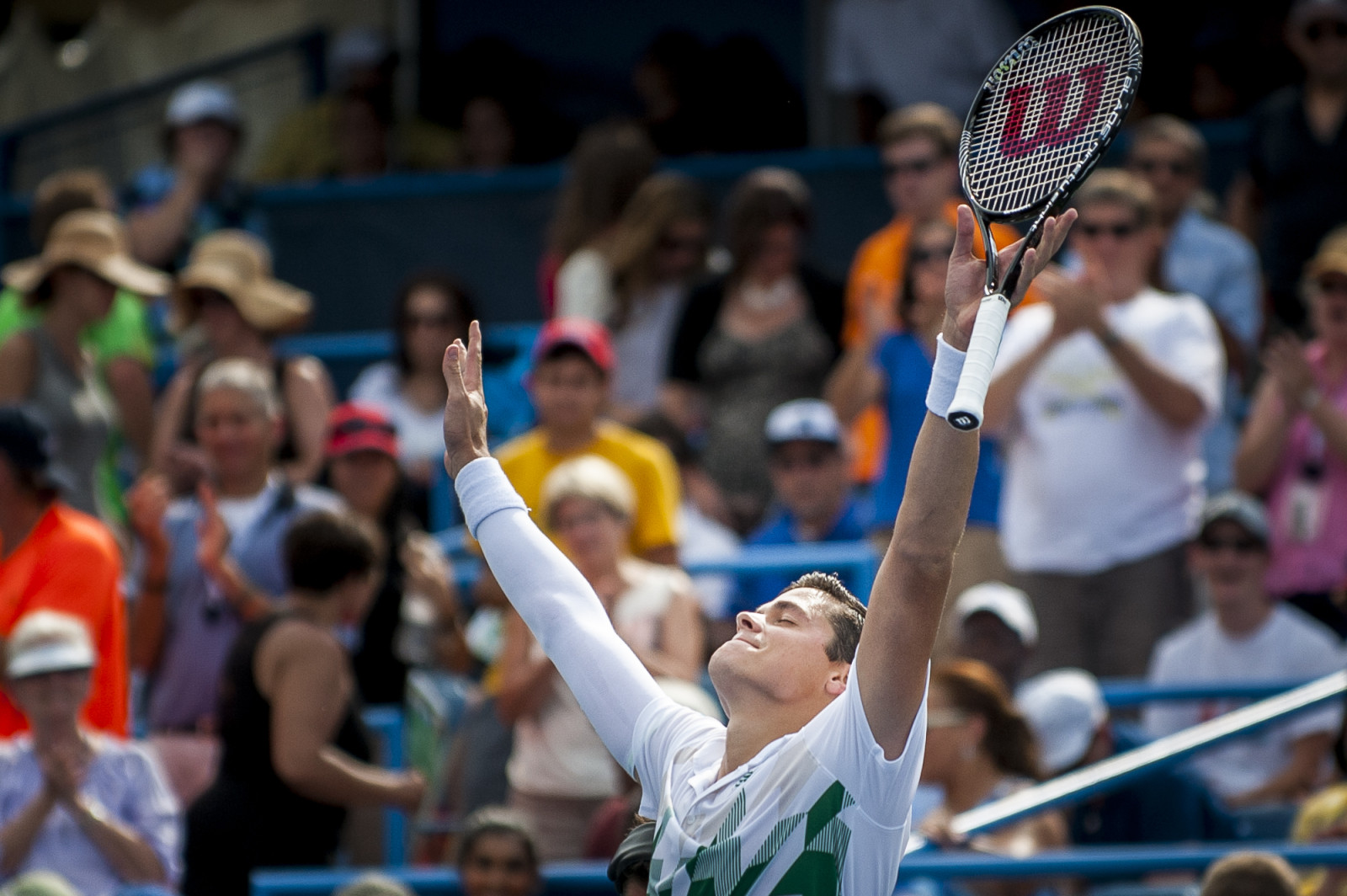 Milos Raonic of Canada celebrates the winning point against Vasek Pospisil of Canada during their finals singles match at the Citi Open ATP tennis tournament in Washington, DC, USA, 3 Aug 2014. Raonic won the men's final 6-1, 6-4.