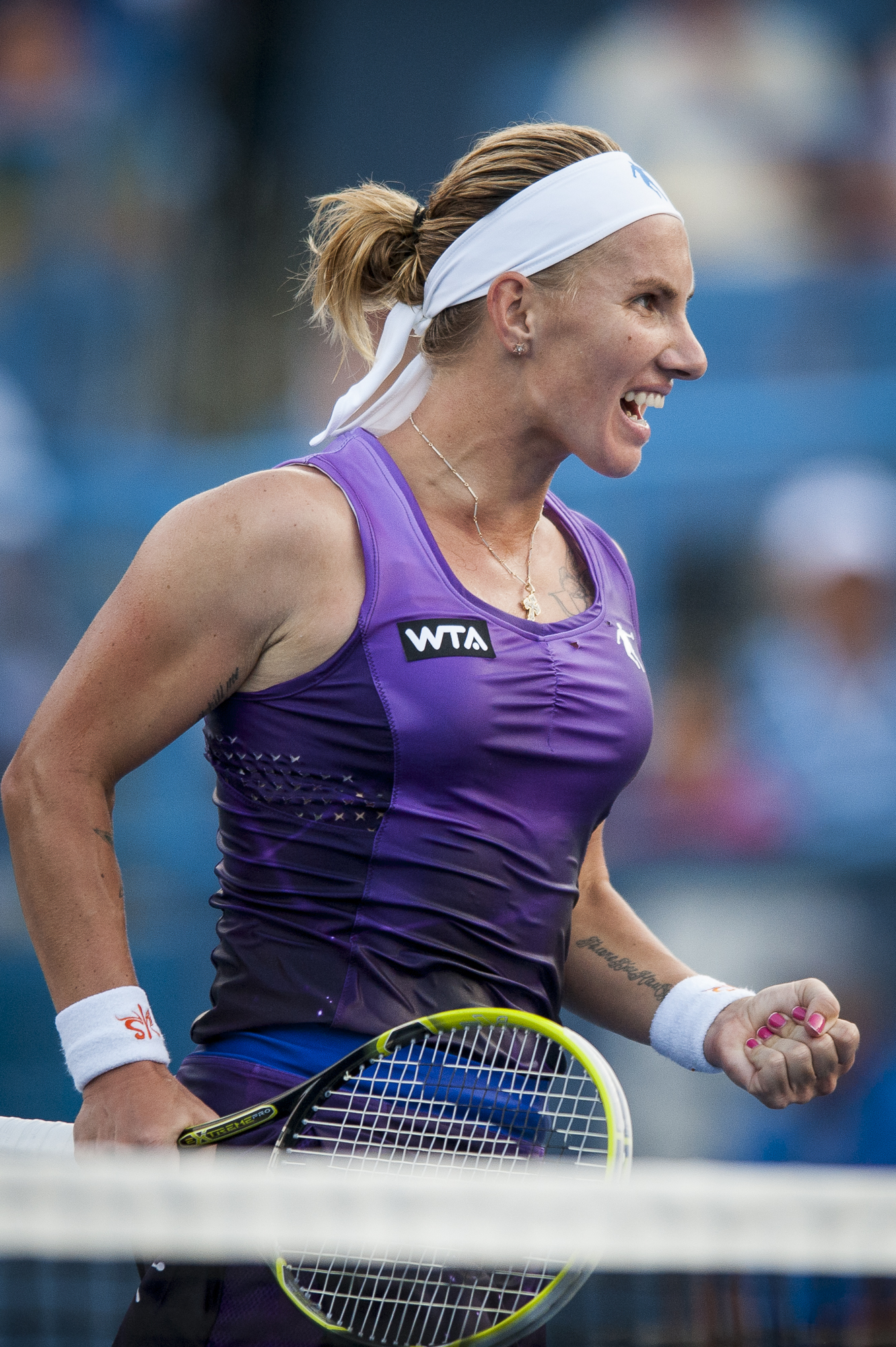 Svetlana Kuznetsova of Russia reacts during her finals singles match against Kurumi Nara of Japan at the Citi Open ATP tennis tournament in Washington, DC, USA, 3 Aug 2014. Kuznetsova won the women's final 6-3, 4-6, 6-4.