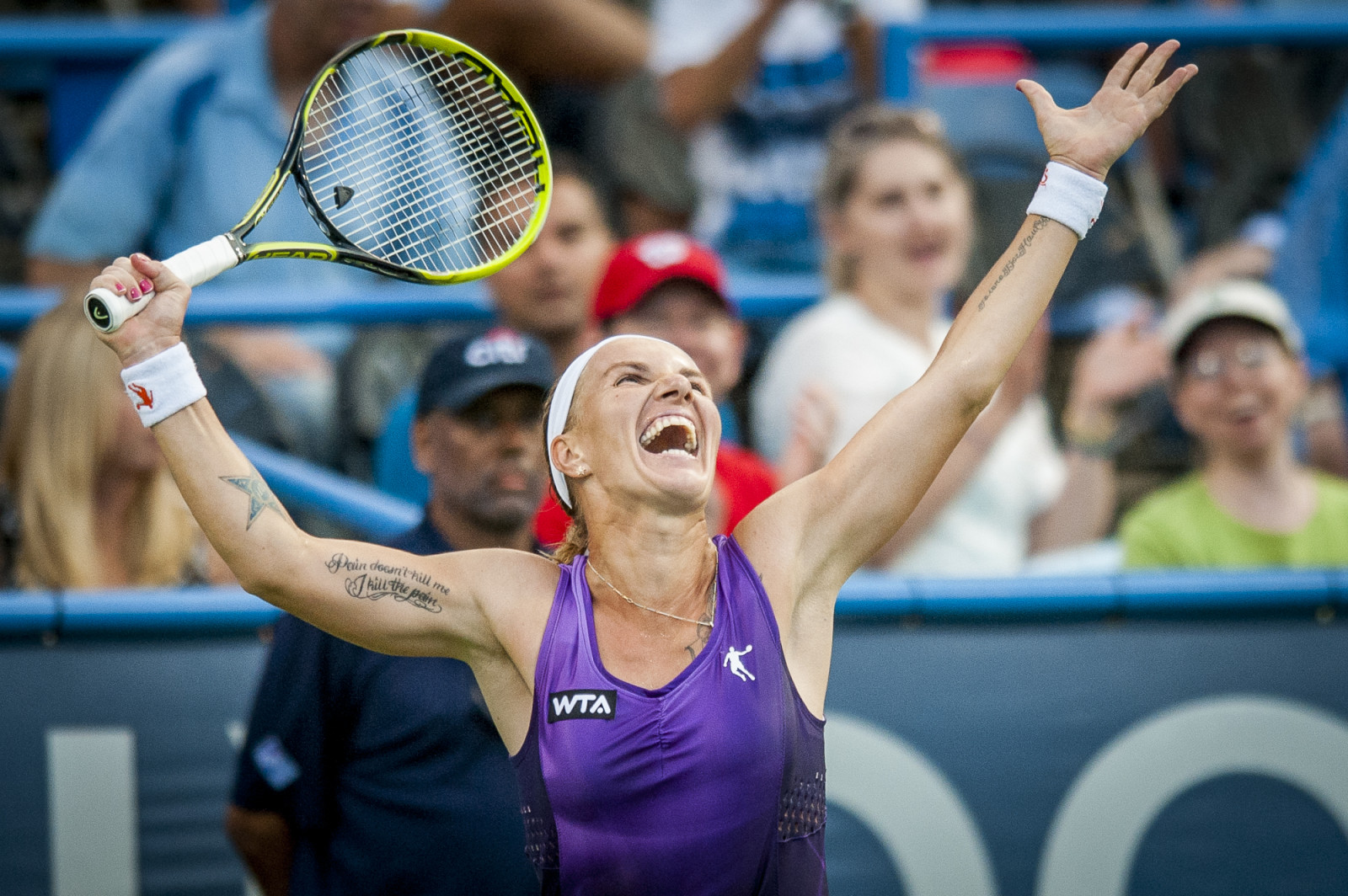 Svetlana Kuznetsova of Russia celebrates winning her finals singles match against Kurumi Nara of Japan at the Citi Open ATP tennis tournament in Washington, DC, USA, 3 Aug 2014. Kuznetsova won the women's final 6-3, 4-6, 6-4.