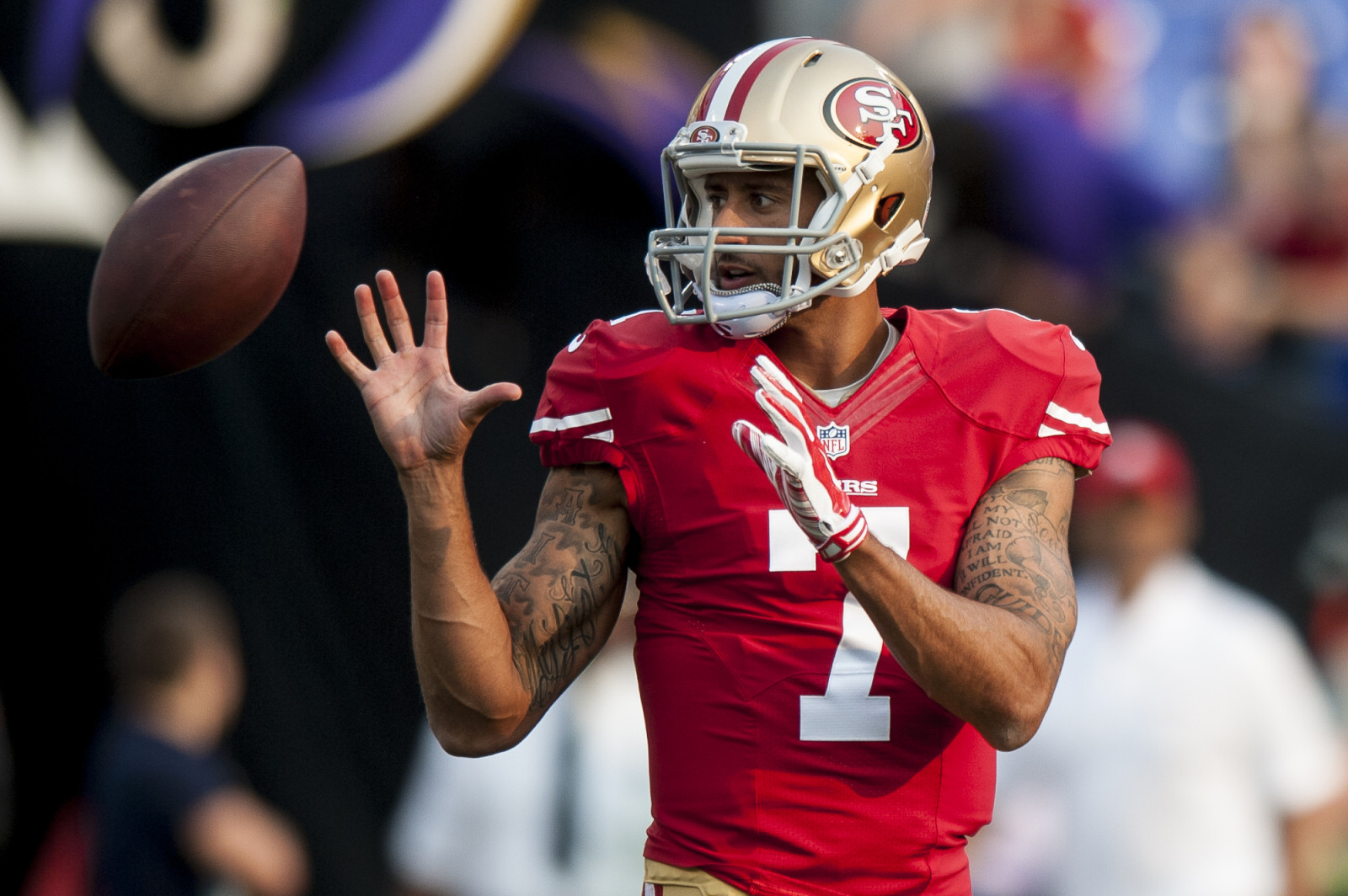 San Francisco 49ers quarterback Colin Kaepernick warms up before their first pre-season game against the Baltimore Ravens at M&T Bank Stadium on August 7, 2014 in Baltimore, Maryland. UPI/Pete Marovich