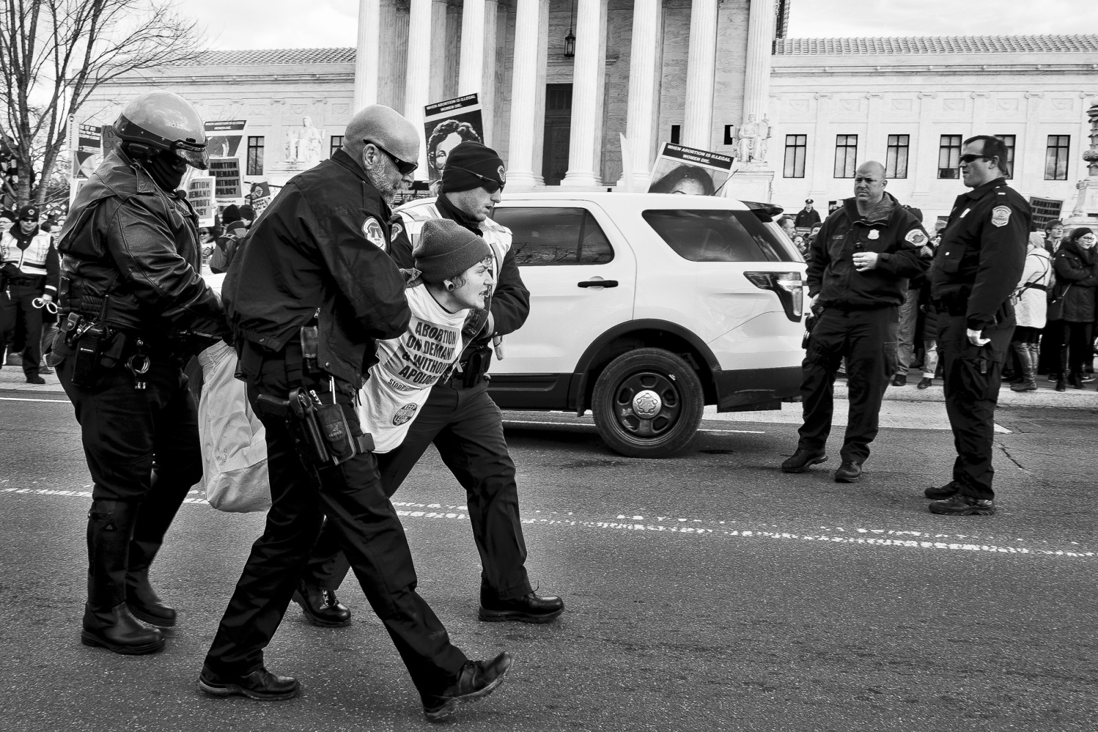 A pro-choice activist is arrested in front of the Supreme Court after her group blocked the street not allowing anti-abortion activists taking part in the 42nd March for Life in Washington, DC on January 22, 2015 to pass. Activists from across the nation participated in the annual pro-life rally protesting abortion and the 1973 Roe v. Wade Supreme Court decision legalizing abortion. UPI/Pete Marovich
