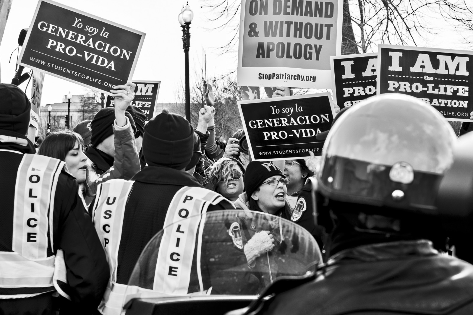 Pro-choice activists block the street in front of the Supreme Court as Anti-abortion activists take part in the 42nd March for Life in Washington, DC on January 22, 2015. Activists from across the nation participated in the annual pro-life rally protesting abortion and the 1973 Roe v. Wade Supreme Court decision legalizing abortion. UPI/Pete Marovich