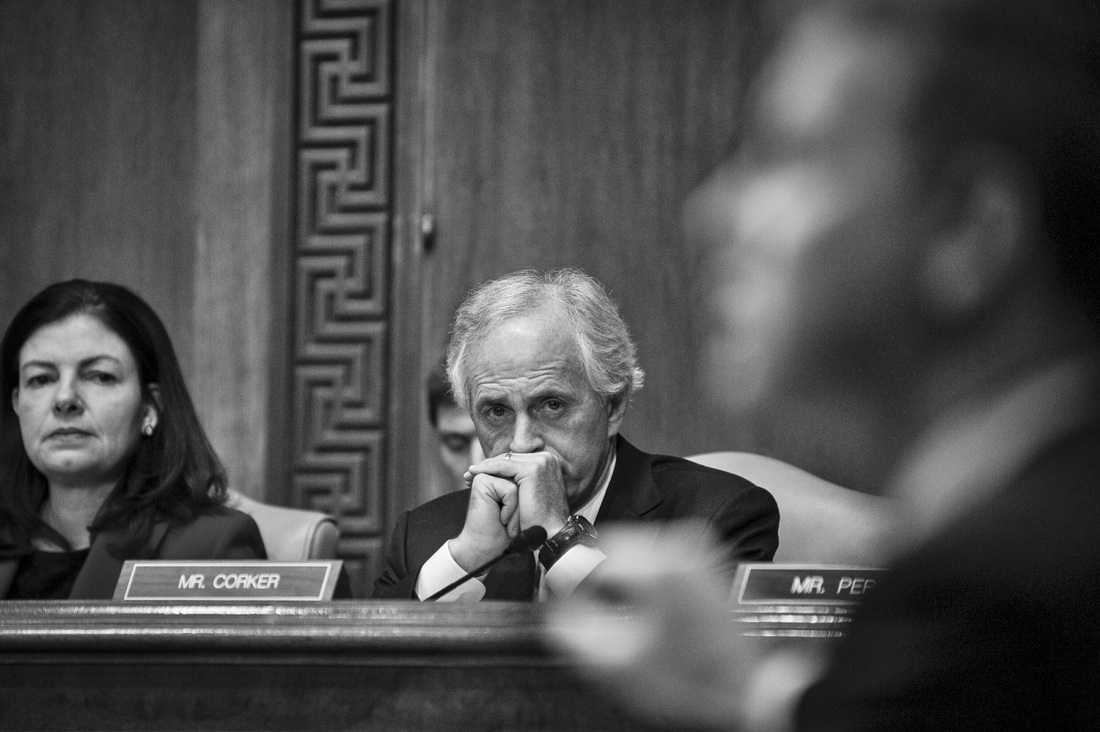 Senator Bob Corker (R-TN) looks on as Office of Management and Budget Director Shaun Donovan testifies before the Senate Budget Committee on Capitol Hill in Washington, D.C. during a hearing on the president's FY2016 budget request on Feburary 3, 2015.