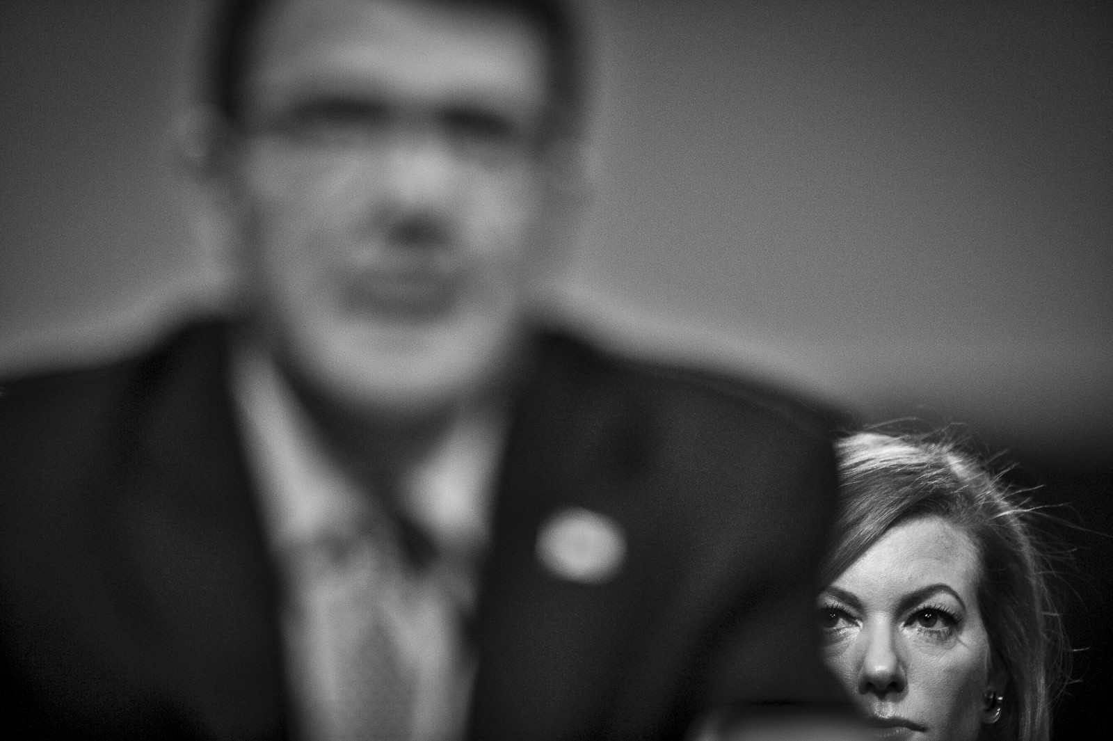 Stephanie Carter, wife of former Deputy Secretary of Defense, Ashton Carter, looks on as he testifies before the Senate Armed Services Committee on Capitol Hill during a hearing on his nomination to be Defense Secretary on February 4, 2015. Carter is expected to be approved by the Senate, but still underwent a grilling from lawmakers President Obama's national security policies.