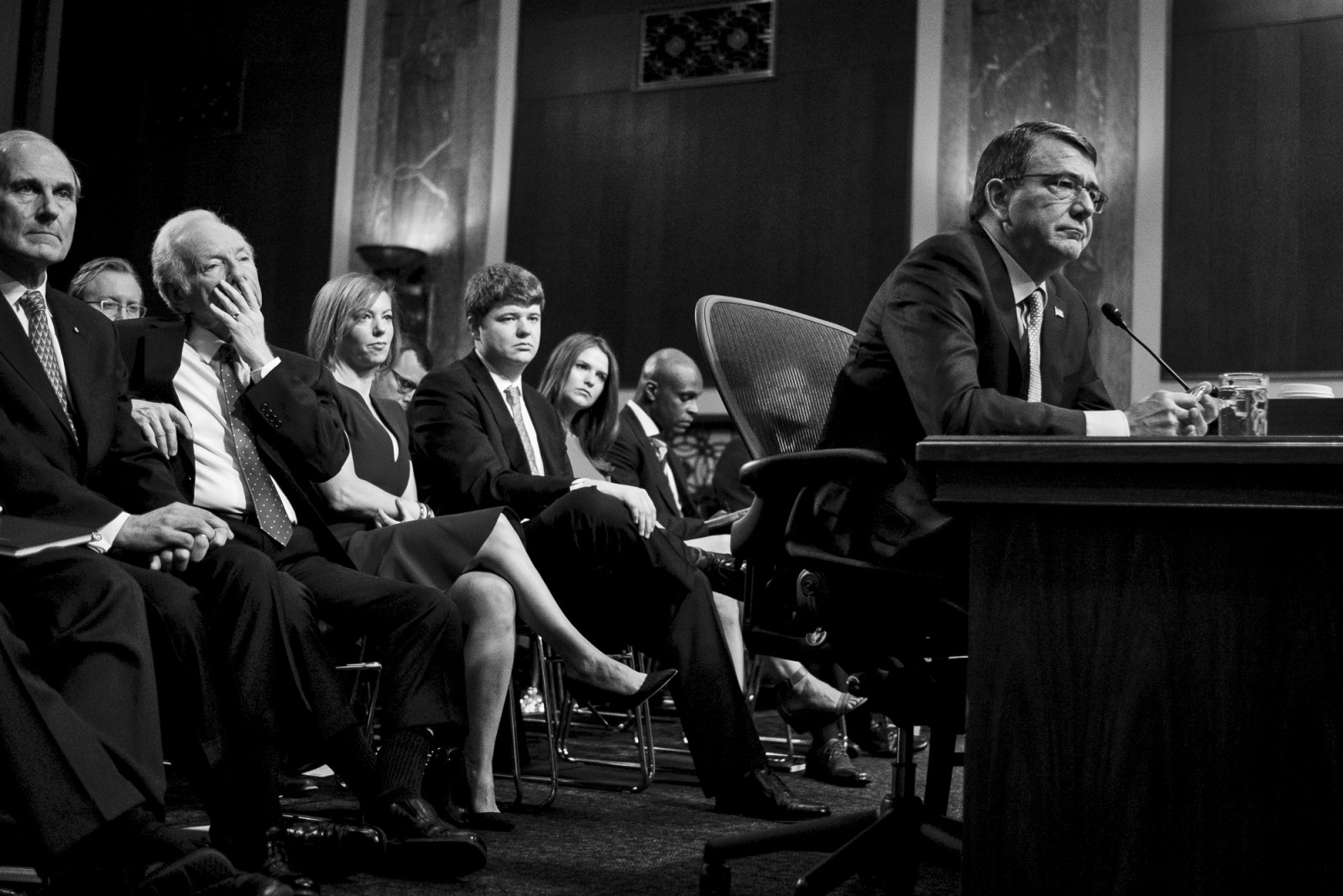 Former Deputy Secretary of Defense, Ashton Carter, testifies before the Senate Armed Services Committee on Capitol Hill during a hearing on his nomination to be Defense Secretary on February 4, 2015. Carter is expected to be approved by the Senate, but still underwent a grilling from lawmakers President Obama's national security policies.