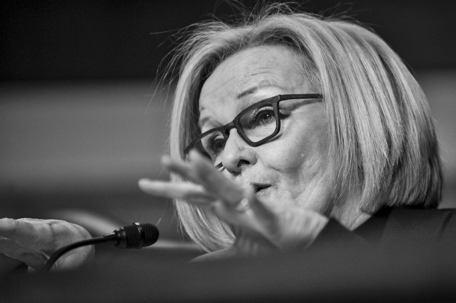 Senator Claire McCaskill (D-MO), questions former deputy secretary of defense, Ashton Carter, testifies before the Senate Armed Services Committee on Capitol Hill during a hearing on his nomination to be Defense Secretary on February 4, 2015. Carter is expected to be approved by the Senate, but still underwent a grilling from lawmakers President Obama's national security policies.