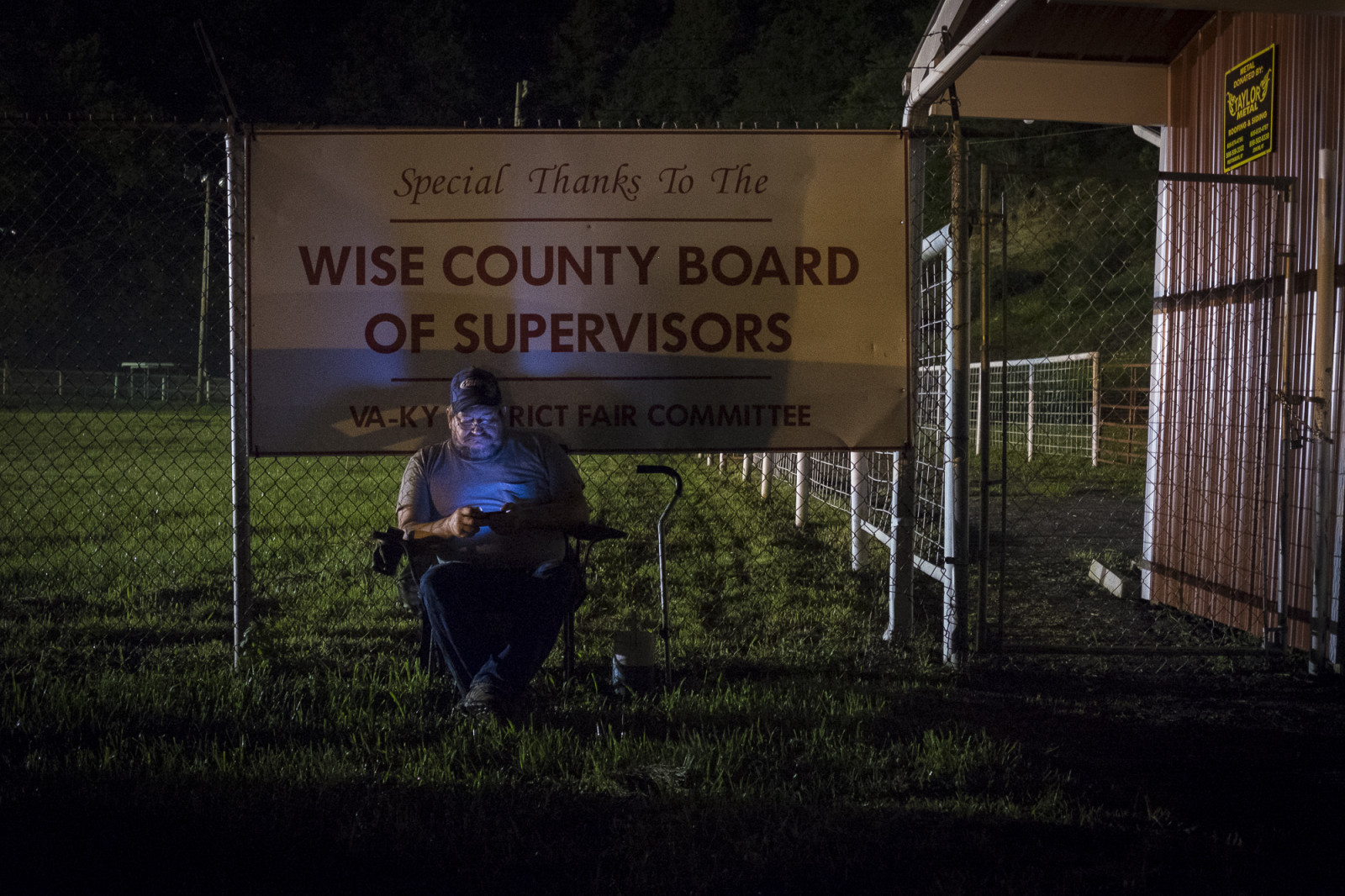 Roy Pickett, 48, of Wise, Va. spends the night in the parking lot at the Wise County Fairgrounds, where he hopes.  to receive free medical care the next day at the 16th annual Remote Area Medical (RAM), clinic in Wise, Virginia. Photo: Pete Marovich/Bloomberg