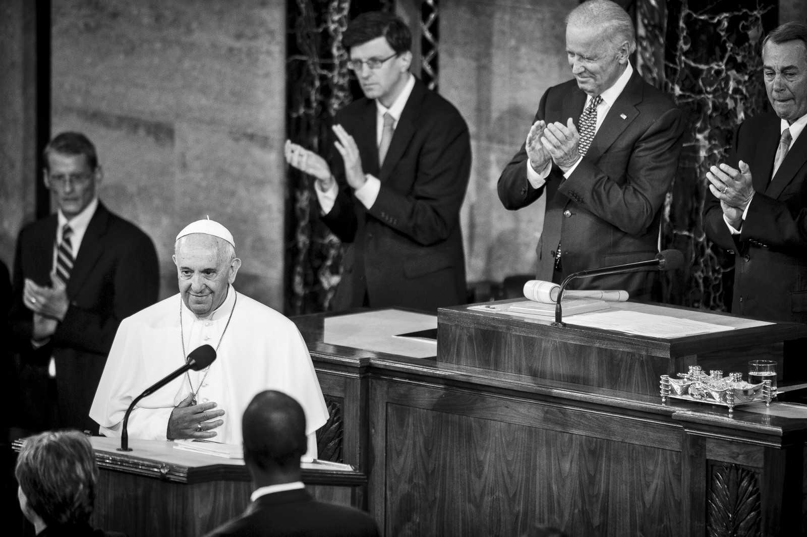 Pope Francis is acknowledged as he arrives in the chamber of the House of Representatives to speak to a joint meeting of Congress at the U.S. Capitol in Washington, District of Columbia, U.S., on Thursday, Sept. 24, 2015. Credit: Pete Marovich/Bloomberg