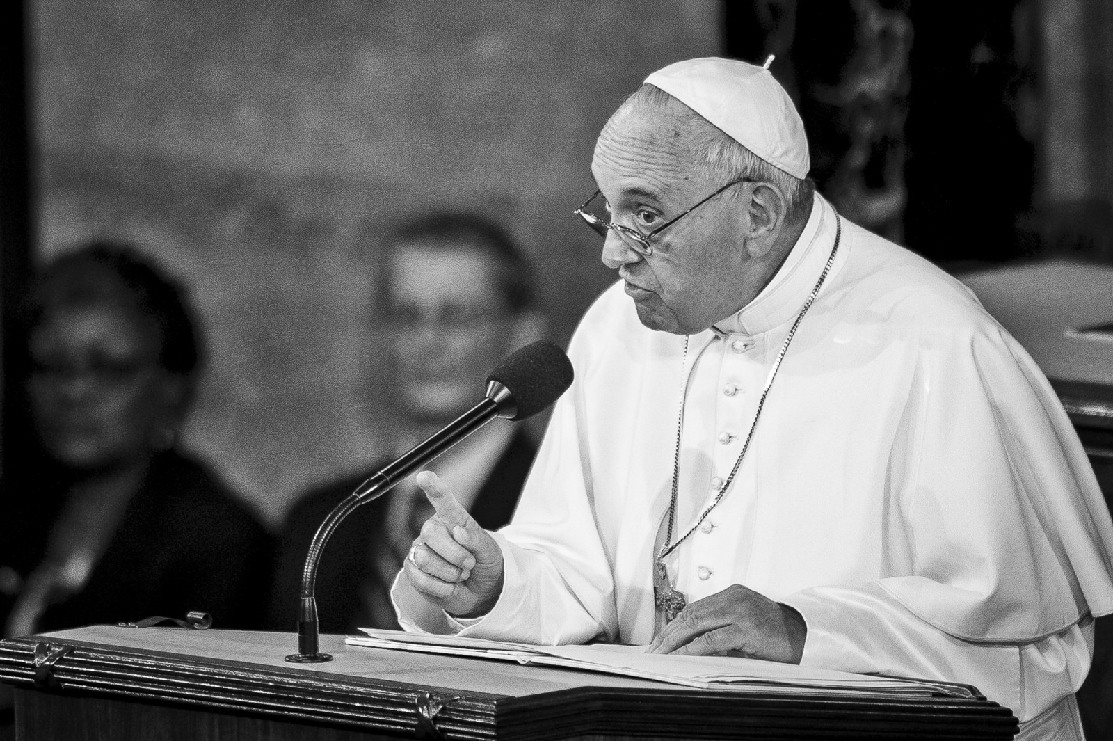 Pope Francis speaks to a joint meeting of Congress at the U.S. Capitol in Washington, District of Columbia, U.S., on Thursday, Sept. 24, 2015. Credit: Pete Marovich/Bloomberg