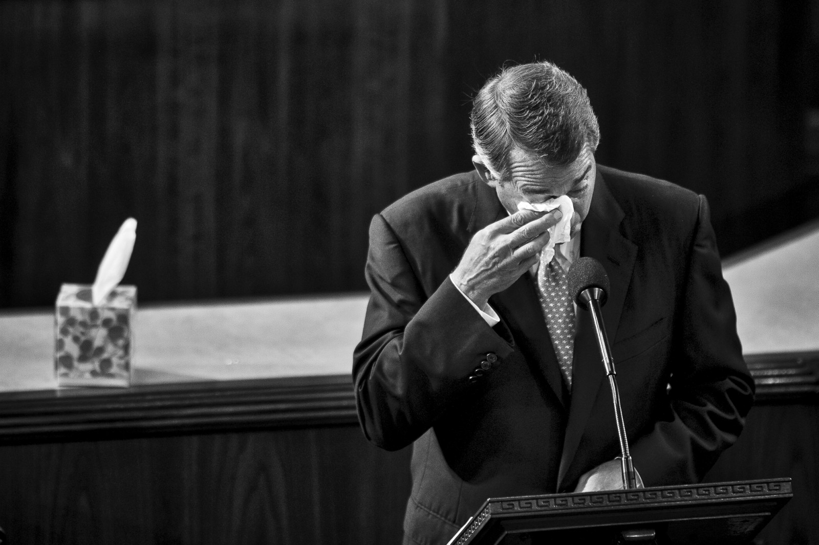 The day before he is to retire from Congress, Speaker of the House John Boehner (R-OH) becomes emotional as he delivers his farewell address to the House of Representatives on October 29, 2015 in Washington, D.C. Following his address, the House of Representatives will vote on Boehner's replacement for Speaker. Photo by Pete Marovich/UPI