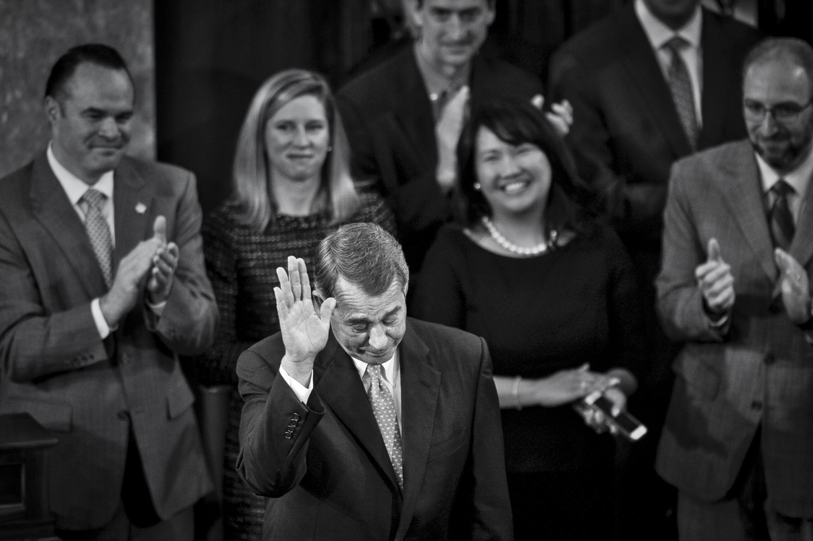 Speaker of the House John Boehner (R-OH) salutes the Chamber after delivering his farewell address to the House of Representatives on October 29, 2015 in Washington, D.C. Following his address, the House of Representatives will vote on Boehner's replacement for Speaker. Photo by Pete Marovich/UPI