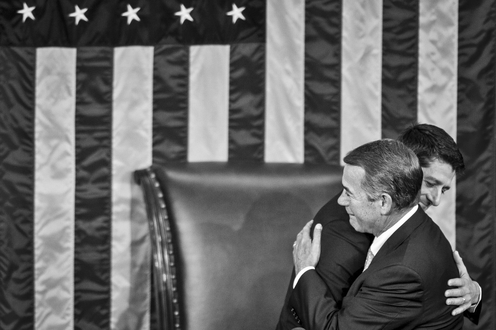 Rep. Paul Ryan (R-WI) is welcomed by Speaker of the House John Boehner (R-OH) after being elected Speaker of the House of Representatives on October 29, 2015 in Washington, D.C. Earlier the outgoing Speaker, Rep. John Boehner (R-OH), gave his farewell address to Congress. He is retiring on October 30, 2015. Photo by Pete Marovich/UPI
